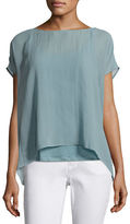 Eileen Fisher Short-Sleeve Sheer Silk Box Top, Bone