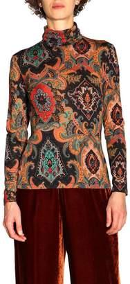 Etro Sweater Long Sleeve Sweater In Patterned Wool By