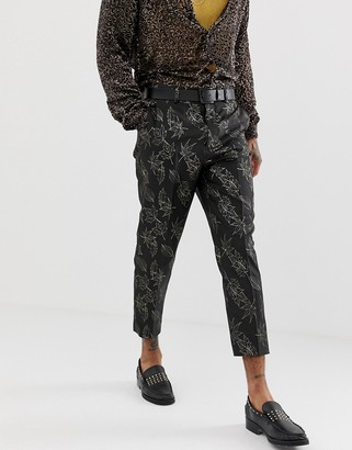 ASOS EDITION slim suit trousers in gold and black floral jacquard