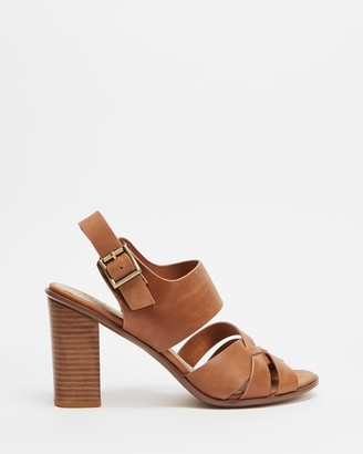 Walnut Melbourne Women's Brown Open Toe Heels - Hollie Leather Block Heel - Size 39 at The Iconic