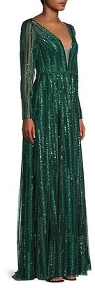 Mac Duggal Sequin Stripe V-Neck Gown