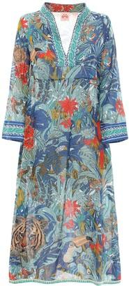 Giada Tiger Print Cotton Long Dress