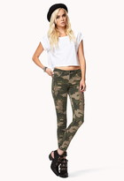 Forever 21 Destroyed Camo Skinny Jeans