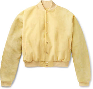 Fear Of God Appliqued Suede-Panelled Faux Suede Bomber Jacket