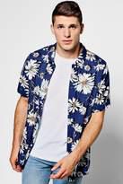 boohoo Navy Floral Print Short Sleeve Shirt