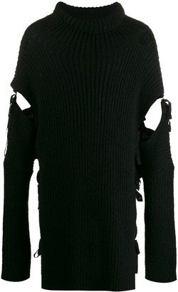 Ann Demeulemeester Cut-Out Ribbed Jumper