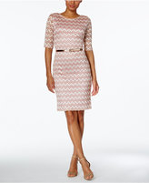 Connected Lace Belted Sheath Dress