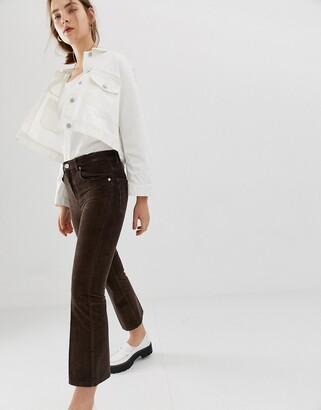 ASOS DESIGN Egerton rigid crop kick flare jeans in vintage brown cord