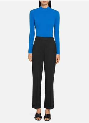 St. John Stretch Tropical Wool Cropped Pant With Bottom Cuff