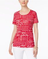 Karen Scott Petite Nautical-Print T-Shirt, Only at Macy's