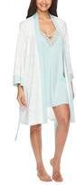 Nanette Lepore Women's Sleep Robes CRE - Cream Floral Contrast-Trim Robe & Mint Crisscross Chemise - Women