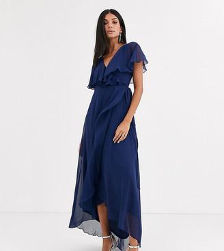 Asos Tall DESIGN Tall cape back dipped hem maxi dress-Blue