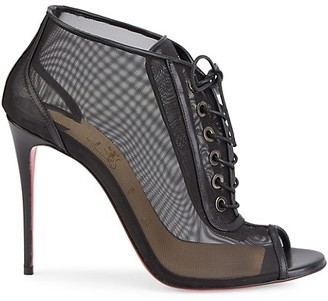 Christian Louboutin Ondessa Lace-Up Mesh Peep-Toe Booties