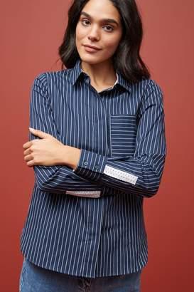 Next Womens Blue/White Long Sleeve Stripe Shirt - Blue