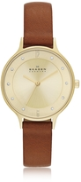 Skagen Anita Round Case Saddle Leather Strap Women's Watch