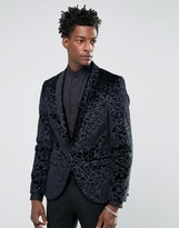 Noose & Monkey Super Skinny Blazer In Floral Velvet with Shawl Lapel