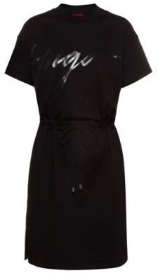 HUGO BOSS Jersey dress with handwritten-logo print and drawstring waist