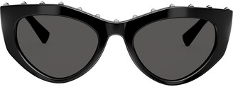 Cat Eye Studded Slim Cat-Eye Frames Sunglasses