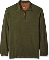 Haggar Men's Big and Tall Long Sleeve Hi-Definition Ottoman Knit Zip Neck with Faux Suede Trim