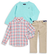 Nautica Boys 2-7 V-Neck Sweater, Sportshirt and Chinos Set