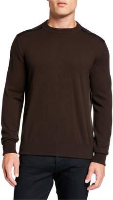 Salvatore Ferragamo Men's Virgin Wool Sweater w/ Leather Epaulets