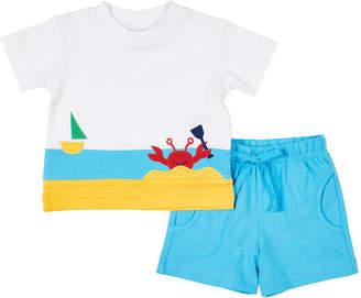 Florence Eiseman Boy's Crap Applique T-Shirt w/ Solid Shorts, Size 4T-3