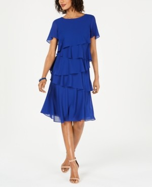 Jessica Howard Petite Tiered-Chiffon Dress