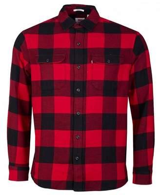 Levi's Jackson Worker Check Shirt Colour: CRIMSON, Size: