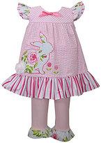 Bonnie Jean Bonnie Baby Girls Newborn-24 Months Easter Bunny Seersucker Checked Dress & Solid Leggings Set