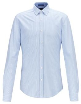 HUGO BOSS - Striped Slim Fit Shirt In Knitted Cotton Pique - Light Blue
