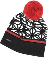 DSQUARED2 Black & White Knit Hat w/Red Pom Pom