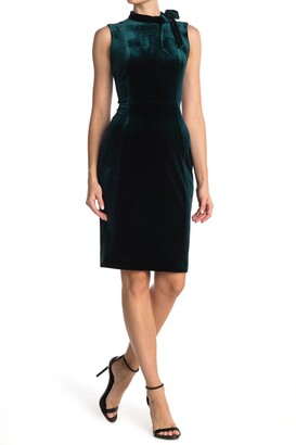 Calvin Klein Velvet Sleeveless Tie Neck Sheath Dress