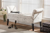 Asstd National Brand Baxton Studio Avignon French Script-Patterned Upholstered Storage Ottoman Bench