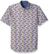 Bugatchi Men's Tailored Thin Stripe Multi Dimensional Short Sleeve Shirt