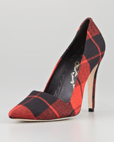 Dina Plaid Point-Toe Pump, Red Multi (Stylist Pick!)