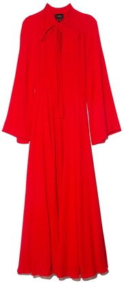 Giambattista Valli Tie Neck Silk Crepe Gown in Red