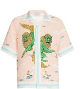 Casablanca Printed Linen Button-Front Shirt