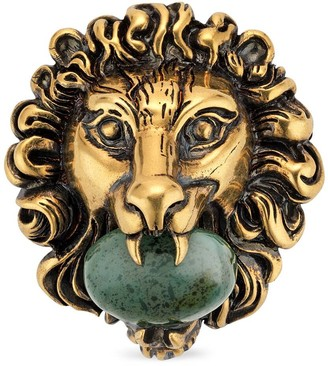 Gucci Lion head brooch with glass stone