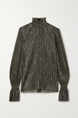 L'Agence Paola Lame Turtleneck Blouse - Gold