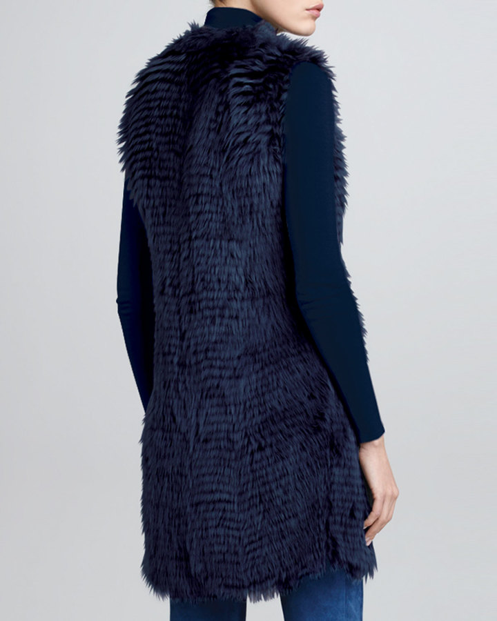 Ralph Lauren Long Shearling Fur Vest, Dusty Blue