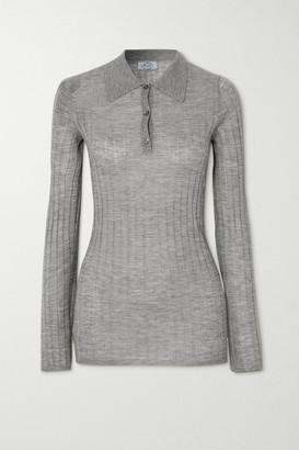 Prada Ribbed Cashmere And Silk-blend Sweater - Gray