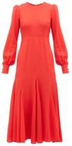 Goat Idol Godet-panel Wool-crepe Midi Dress - Womens - Red