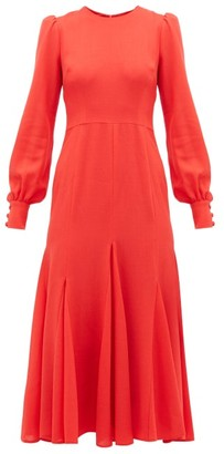 Goat Idol Godet-panel Wool-crepe Midi Dress - Red