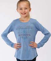 Roper Blue Geometric Heart Long-Sleeve Tee - Girls