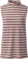 Lands'end Women's Plus Size Sleeveless Stripe Mock Neck Top