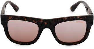 Steve Madden 51mm Perforated Flat Top Square Sunglasses