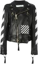 Off-White logo print biker jacket - women - Lamb Skin/Viscose - S