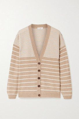 Brunello Cucinelli Bead-embellished Striped Wool-blend Cardigan - Sand