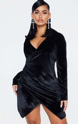 PrettyLittleThing Shape Black Velvet Blazer Dress