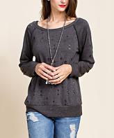 Blu Heaven Black Distressed Scoop Neck Sweater